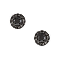 M by Miadora Sterling Silver 1/2ct TDW Black and White Diamond Halo Earrings(G-H, I2-I3)