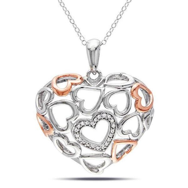 Haylee Jewels Sterling Silver 1/10ct TDW Diamond Heart Necklace (G-H, I3)