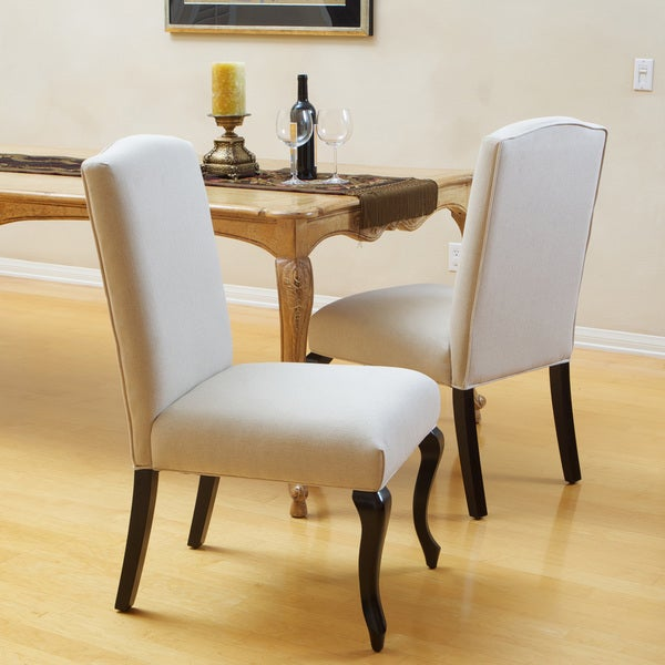 Christopher Knight Home Crown Top Beige Fabric Dining Chair (Set of 2) (As Is Item)