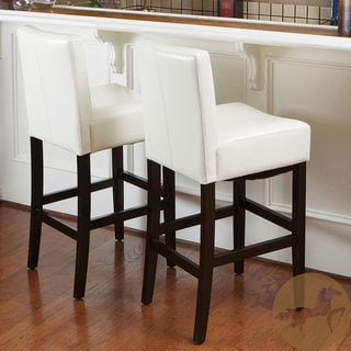 Christopher Knight Home Lopez Ivory Wood/Leather Bar Stools (Set of 2)
