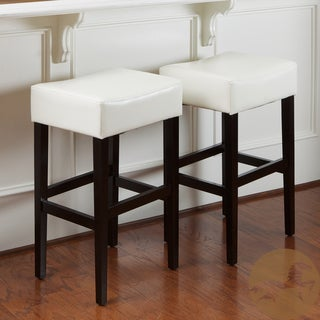 Christopher Knight Home Ivory Leather Backless Bar Stools (Set of 2)