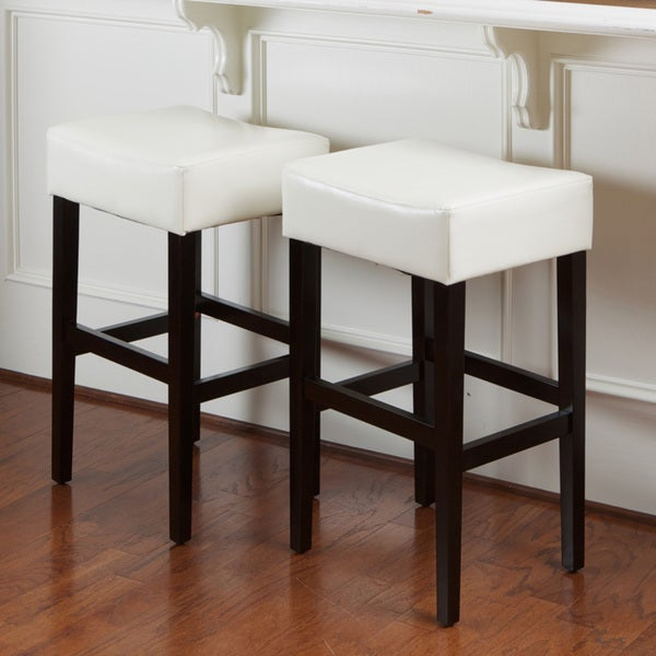 Christopher Knight Home Lopez Ivory Bonded Leather Backless Bar Stools (Set of 2)