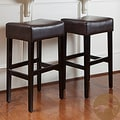 Christopher Knight Home Brown Leather Backless Bar Stools (Set of 2)