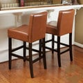 Christopher Knight Home Hazlenut Leather Bar Stools (Set of 2)