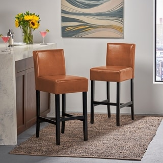 Christopher Knight Home Hazelnut Bonded Leather Barstool (Set of 2)