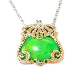 Michael Valitutti Two-tone Turquoise and Chrome Diopside Bag Necklace