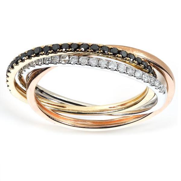 Annello 14k Tri-color Gold 1/3ct TDW Diamond Triple Band (H-I, I1-I2)