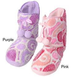 Journee Collection Kids Girl's 'Christian' Heart Pattern Toggle Slipper Boots