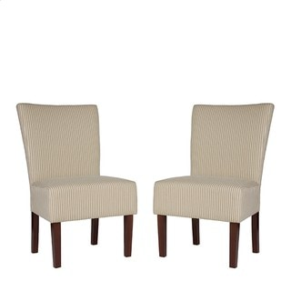 Portfolio Duet Emma Khaki Ivory Stripe Upholstered Chairs (Set of 2)