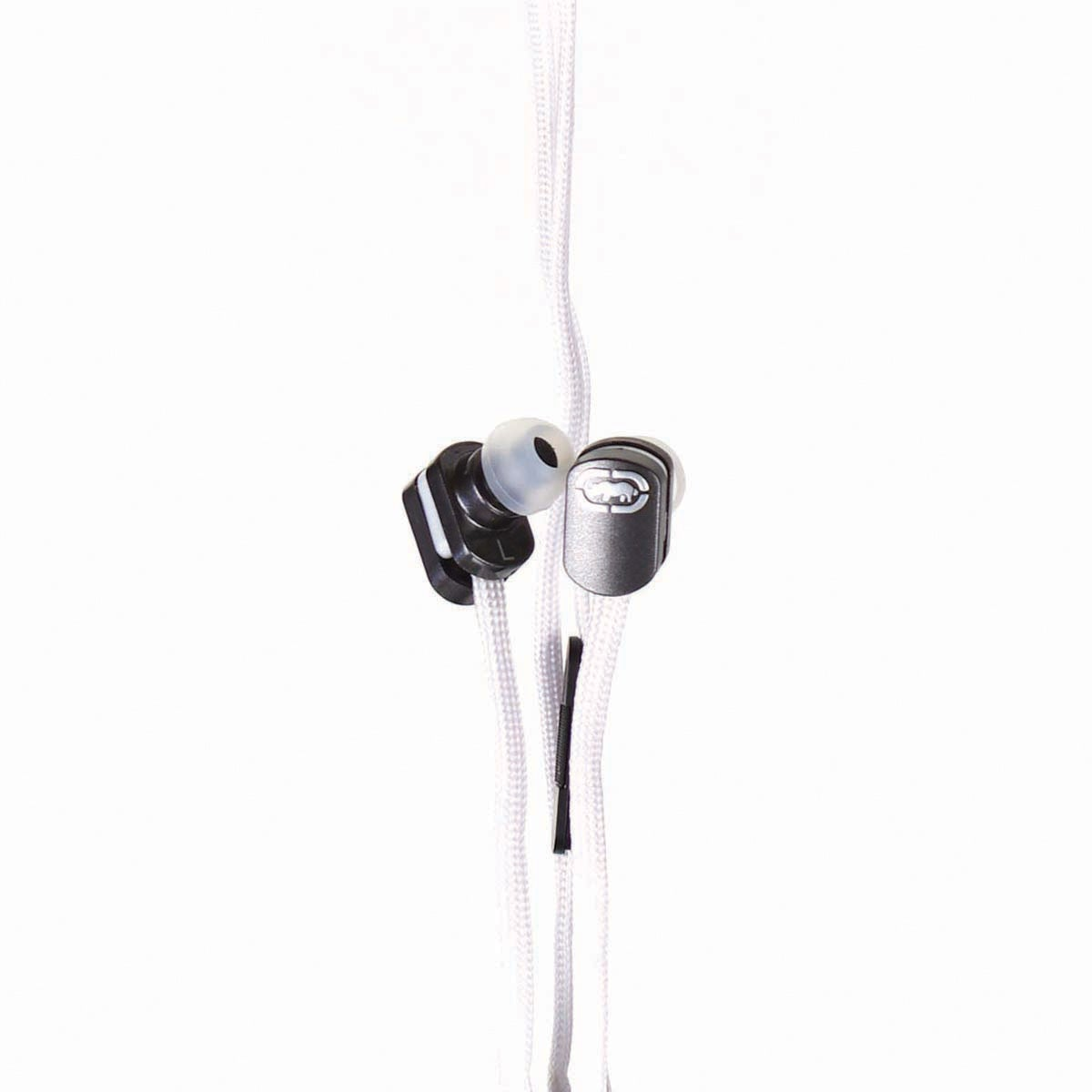 Marc Ecko Black Silicone Earbud on White Nylon Shoelace Cable