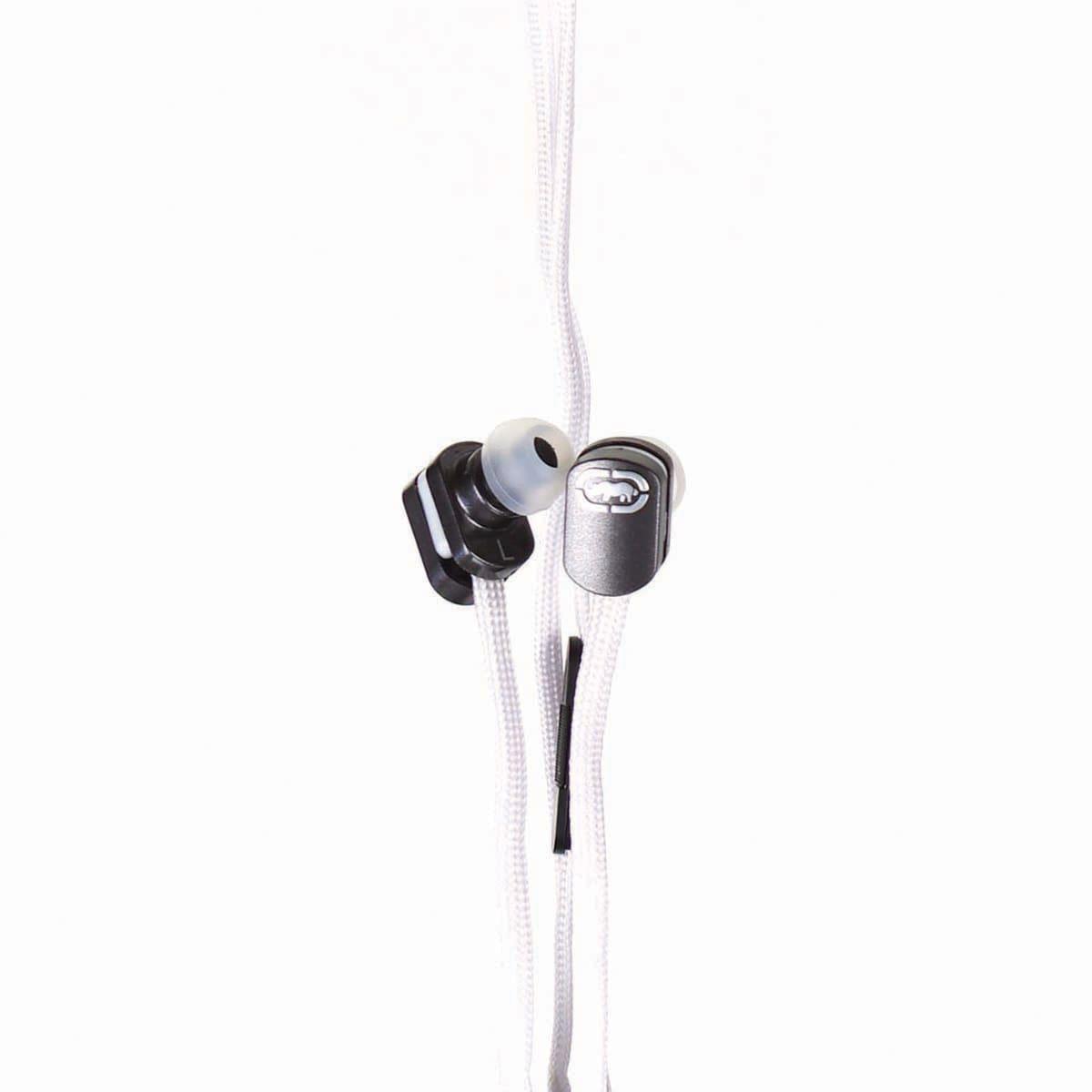 Marc Ecko Black Silicone Earbud on White Nylon Shoelace Cable