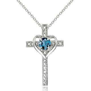 Glitzy Rocks Sterling Silver Amethyst and Diamond Accent Cross Necklace