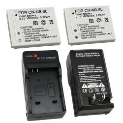 3-piece Battery and Charger Set for Canon PowerShot D10, PowerShot S90