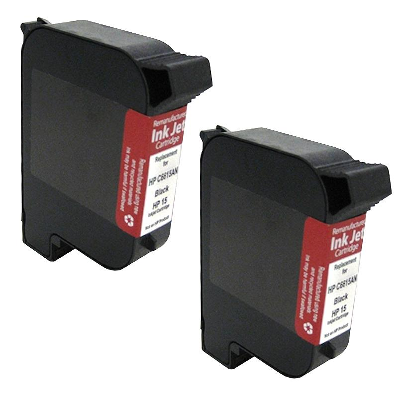 INSTEN HP 15 C6615DN Black Ink Cartridge (Remanufactured) (Pack of 2)