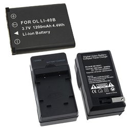 Battery/ Compact Charger Set for Olympus Li-40B/ Nikon EN-EL10