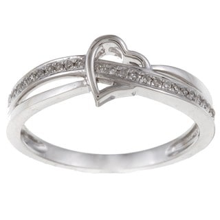 10k White Gold 1/10ct TDW Diamond Heart Promise Ring (H-I, I2-I3)