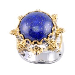 Michael Valitutti Two-tone Lapis Lazuli and Blue Sapphire Ring