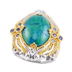 Michael Valitutti Two-tone Chrysocolla and Blue Sapphire Ring
