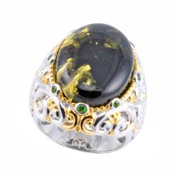 Michael Valitutti Two-tone Green Amber and Chrome Diopside Ring