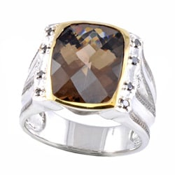 Michael Valitutti Two-tone Smokey Quartz and 1/8ct TDW Black Diamond Ring