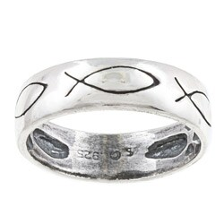 Silvermoon Sterling Silver Christian Fish Design Band