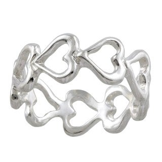 Silvermoon Sterling Silver Open Heart Eternity Band