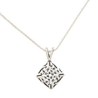 Silvermoon Sterling Silver Celtic Diamond-shaped Necklace