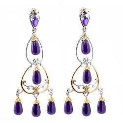 Michael Valitutti Two-tone Purple Jade, Amethyst and Blue Sapphire Earrings