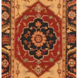 Asian Hand-tufted Rust/ Navy Heriz Wool Rug (2'8 x 10')