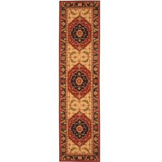 Asian Hand-tufted Rust/ Navy Heriz Wool Rug (2'8 x 10')