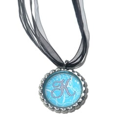 Light Blue and Grey Monogram Bottle Cap Necklace
