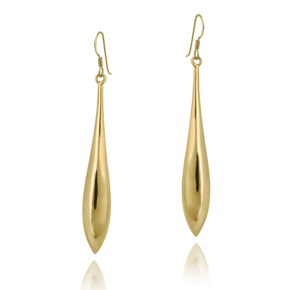 Mondevio 18k Gold over Silver Linear Drop Earrings