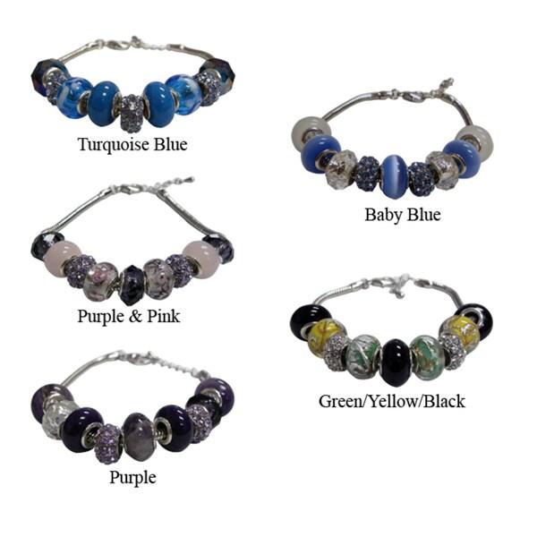 Silvertone Copper Pandora-style Charm Bracelet
