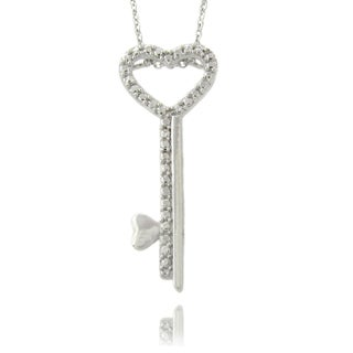 Finesque Silvertone Diamond Accent Heart Key Necklace