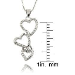 Silvertone Diamond Accent Triple Heart Drop Necklace
