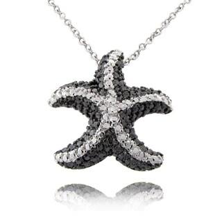 Finesque Black and Silvertone Diamond Accent Starfish Necklace
