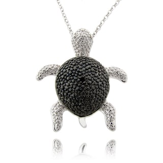 Finesque Black and Silvertone Diamond Accent Turtle Necklace