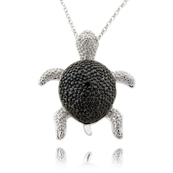 Finesque Black and Silvertone Diamond Accent Turtle Necklace
