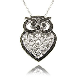 Finesque Black and Silvertone Diamond Accent Owl Necklace