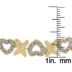 Finesque 14k Gold Overlay Diamond Accent 'X' and Heart Bracelet