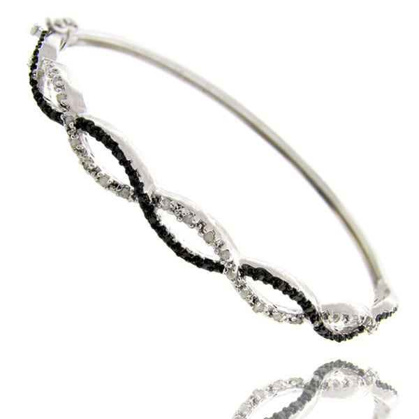 Finesque Black and Silvertone Diamond Accent Infinity Bangle Bracelet