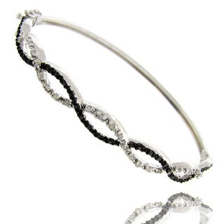 Black and Silvertone Diamond Accent Infinity Bangle Bracelet