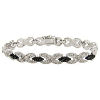Finesque Black and Silvertone Diamond Accent 'X' Bangle Bracelet
