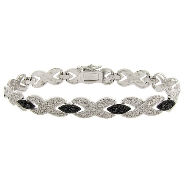 Finesque Black and Silvertone Diamond Accent 'X' Bracelet
