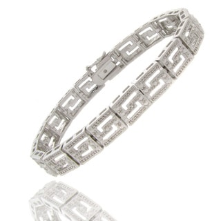 Finesque Silvertone Diamond Accent Greek Key Bracelet