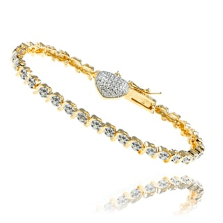 Finesque 14k Gold Overlay Diamond Accent Heart Charm Bracelet