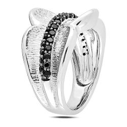 Sterling Silver Round Black Spinel Fashion Ring