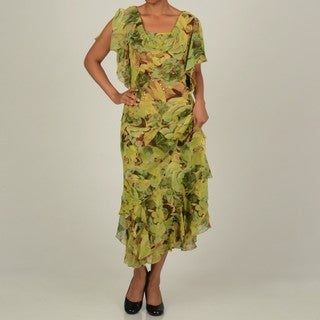 Robbie Bee Women's Olive/Bronze 2-Piece Tropical Floral Printed Skirt Set