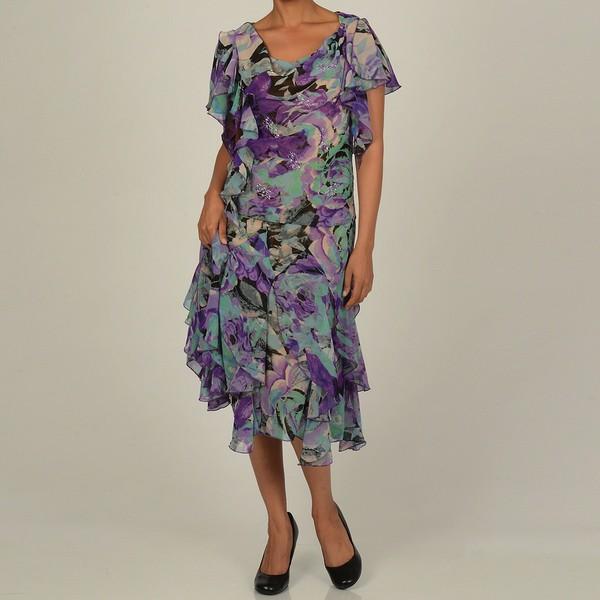 Robbie Bee Women's 2-Piece Watercolor Floral Skirt Set