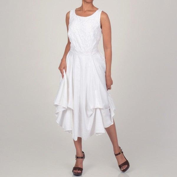 Robbie Bee Women's White Convertible Pickup Dress